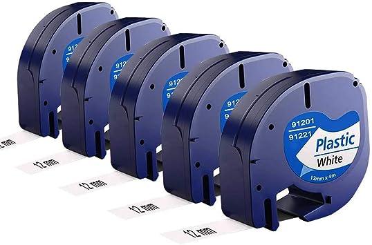 Kompatibel Schriftband für Dymo 91221 LetraTag XR XM QX50 Schwarz auf Weiß 12mm