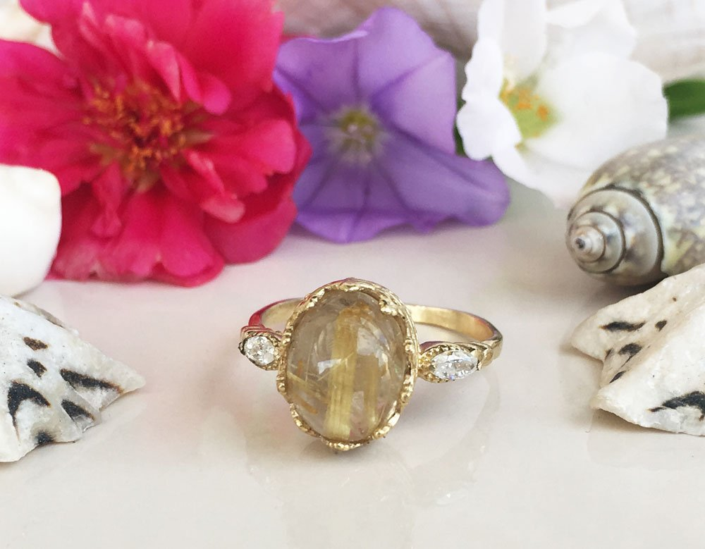 Oval Cab Golden Rutilated Quartz  Ring Rose Gold Fill Jewelry 925 sterling silver Ring 14K Yellow Gold Rutilated Quartz ring