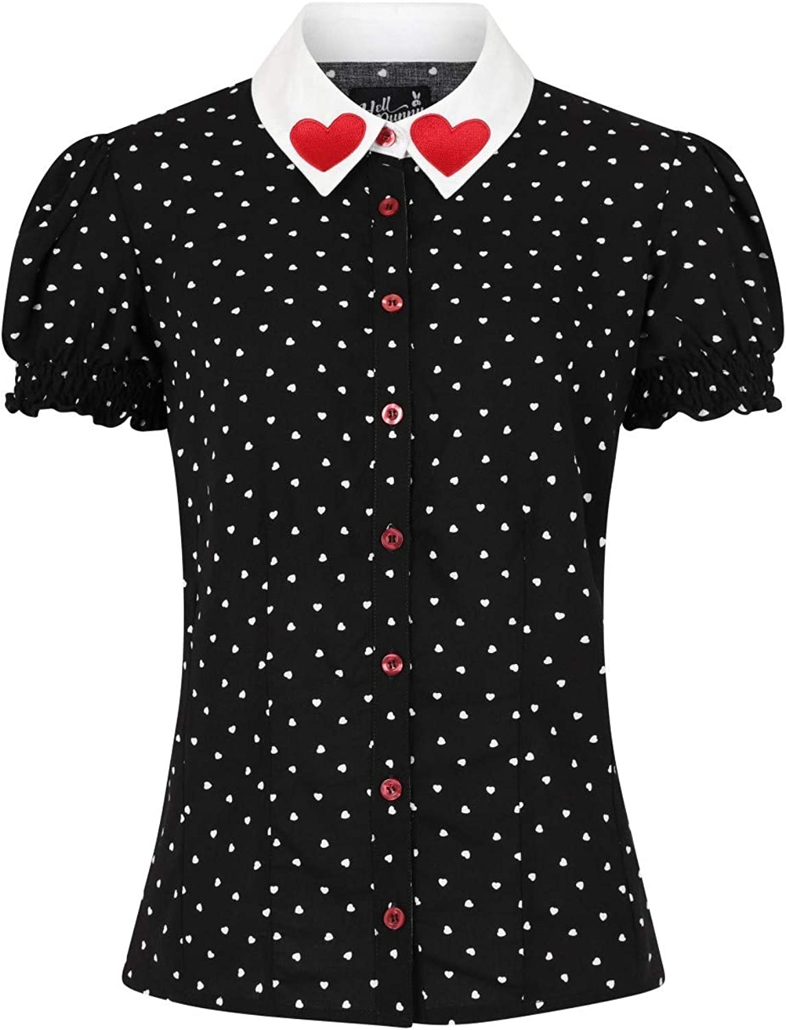 Hell Bunny Allie Popular shop is the lowest price challenge Hearts Max 59% OFF Pinup Blouse 1950's Vintage Retro Valent