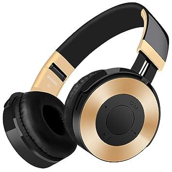 hunpta Auriculares inalámbricos con micrófono y tarjeta SD/TF FM dorado dorado: Amazon.es: Informática