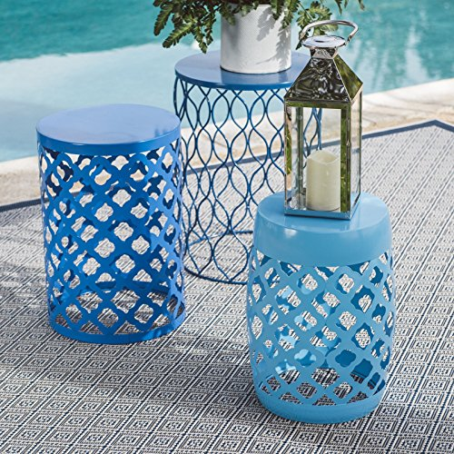 Set of 3 Outdoor Garden Stools is one of our patio ideas for small spaces