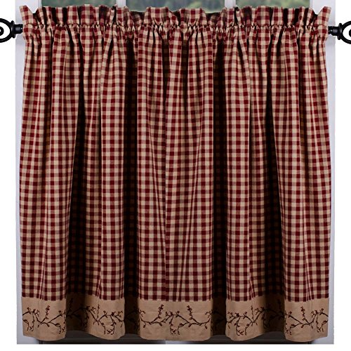 Primitive Home Decors Berry Vine Check Curtain Tiers - Barn Red (Clearance Decor Primitive)