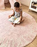 FasterS ABC Alphabet Round Baby Play Game Mat Crawling Mat Sleeping Pad Sitting Cushion Hand-Woven Cotton Non-Slip Mat for Kids Children Toddlers Bedroom 47inch Pink
