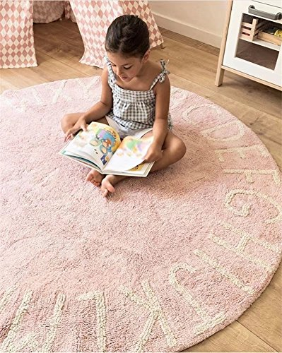 FasterS ABC Alphabet Round Baby Play Game Mat Crawling Mat Sleeping Pad Sitting Cushion Hand-Woven Cotton Non-Slip Mat for Kids Children Toddlers Bedroom 47inch Pink by FasterS (Image #7)