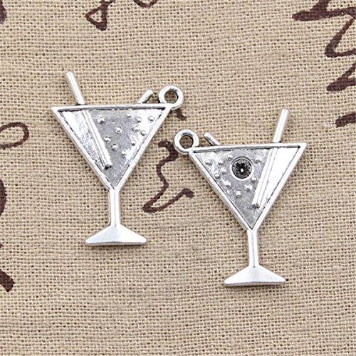 10pcs Charms Beach Cold Drink Champagne 30x23mm Antique Making Vintage Tibetan Silver Zinc Alloy ()