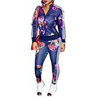 FOUNDO Women's Hawaii Floral 2 Piece Set Tracksuit Sports Joggers Jacket Suit