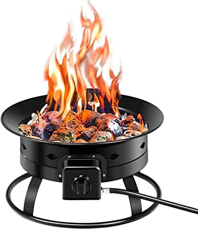 Amazon Com Giantex Firebowl Outdoor Portable Propane Gas Fire Pit 19 Inch Diameter 58 000btu W Cover Carry Kit Lava Rock Stone And Tank Stabilizer Ring Black Garden Outdoor
