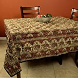 Hand Block Print Kalamkari Elephant Peacock Animal Print Paisley Floral Square Tablecloth Handmade Cotton 78 x 78 inches