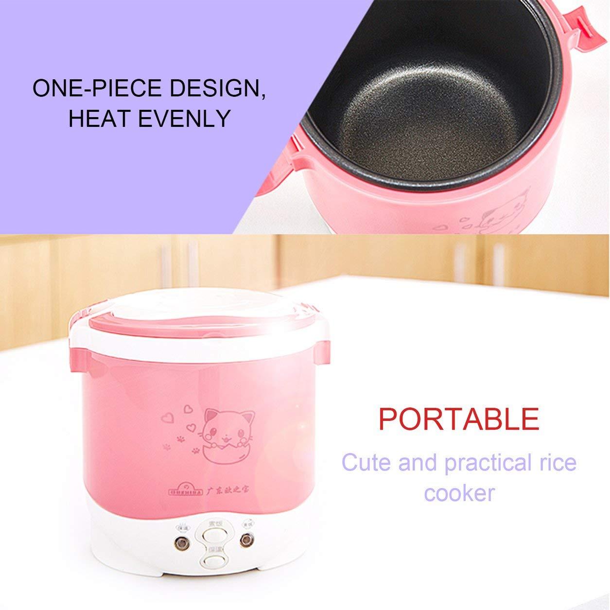 Mini fornello di riso elettrico OUSHIBA 1L Fornello di riso elettrico con fornello di riso sveglio con il modello sveglio del gatto per la zuppa di riso Porridge l'uovo cotto a vapore (Colore: bianco) Dailyinshop