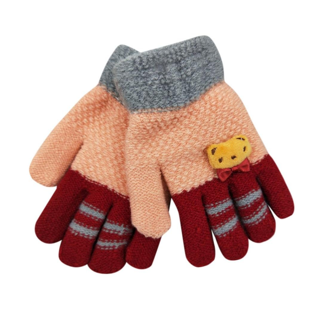 TRENDINAO Winter Kids Toddler Boys Girls Knit Warm Gloves for Age 3-8 Years Hot Sale