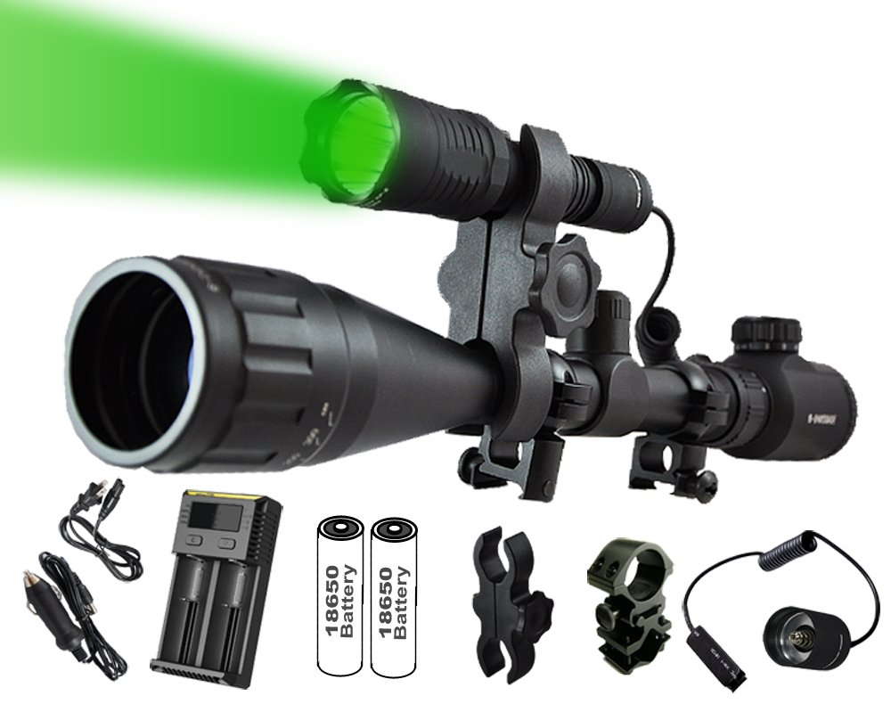 Ultimate Long Range Rechargeable Hog Hunting Light Bundle: Orion Predator H30 273 Yards Green LED Flashlight, High Clearance Scope Mount, Universal Barrel and Rail Mount, Remote Pressure Switch, 2 Sets Rechargeable Batteries, Smart Charger with A/C and Ca
