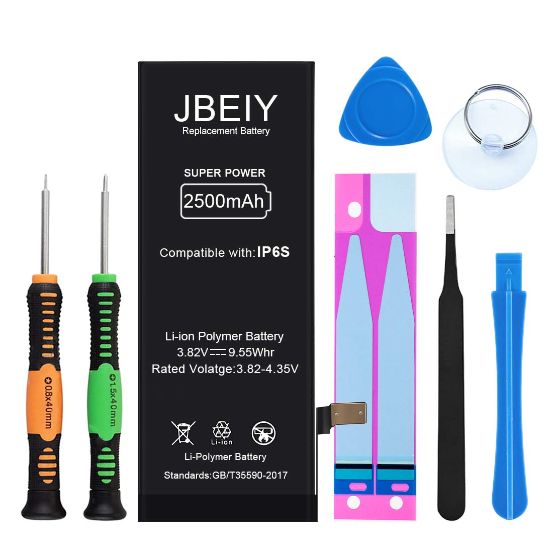 JBEIY Battery Compatible with iPhone 6S, 2500mAh Super High Capacity Replacement Battery New 0 Cycle, with Professional Replacement Tool Kit and Instructions -1 Year Warranty by JBEIY