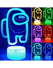 16 Colors Remoter Control Among Us 3D Illusion Lava Lamp Base Table Lamp Night Light Among Us Game Table Lamp for Kids Gifts Bedroom Decoration