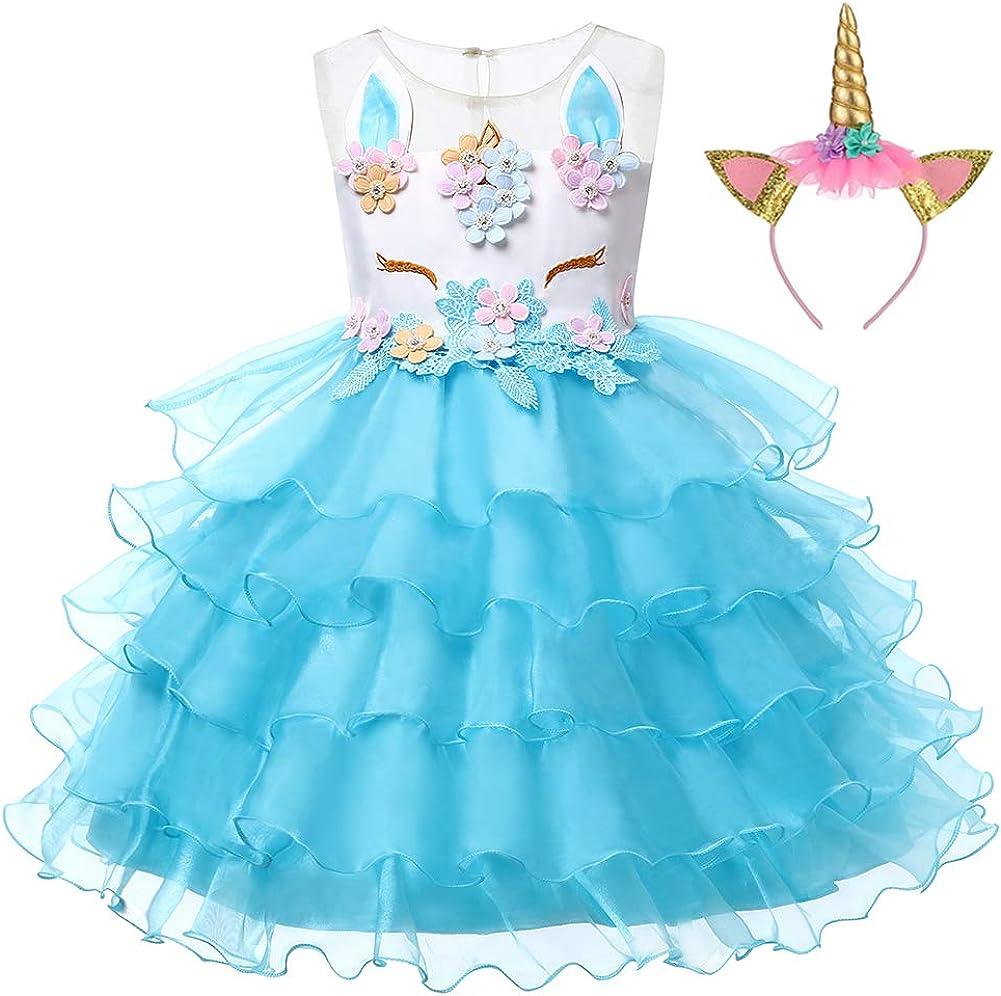 LZH Unicornio Vestido de Ni/ñas Flor Partido Vestido De Princesa Cumplea/ños Cosplay