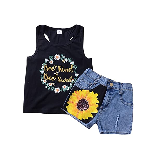 d8f69b6089d Babywow Infant Baby Girl Daisy Wreath Letter Printed Tank Top Sunflower  Denim Shorts 2pcs Outfits Set