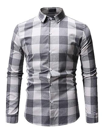 Alion Mens Long Sleeve Plaid Check Button Down Cotton Casual Shirts