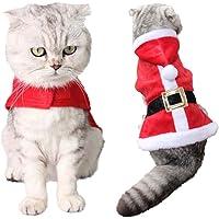 Legendog Abbigliamento per Animali Domestici di Natale, Gatto Costume Carino Reggiseno Babbo Natale Petalo Cappotto con Cappuccio per Gatto (A)