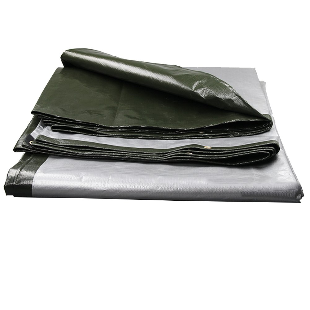 LQQGXL grün Wasserdichte Plane, Mehrzweck-LKW-Fracht Staubschutzabriebfest, hochtemperaturbeständig und Anti-Aging, grün LQQGXL + Silber Wasserdichte Plane 31d612