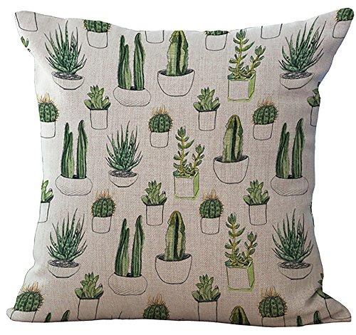 Cactus Cushion Cover ChezMax Cotton Linen Throw Pillow Case