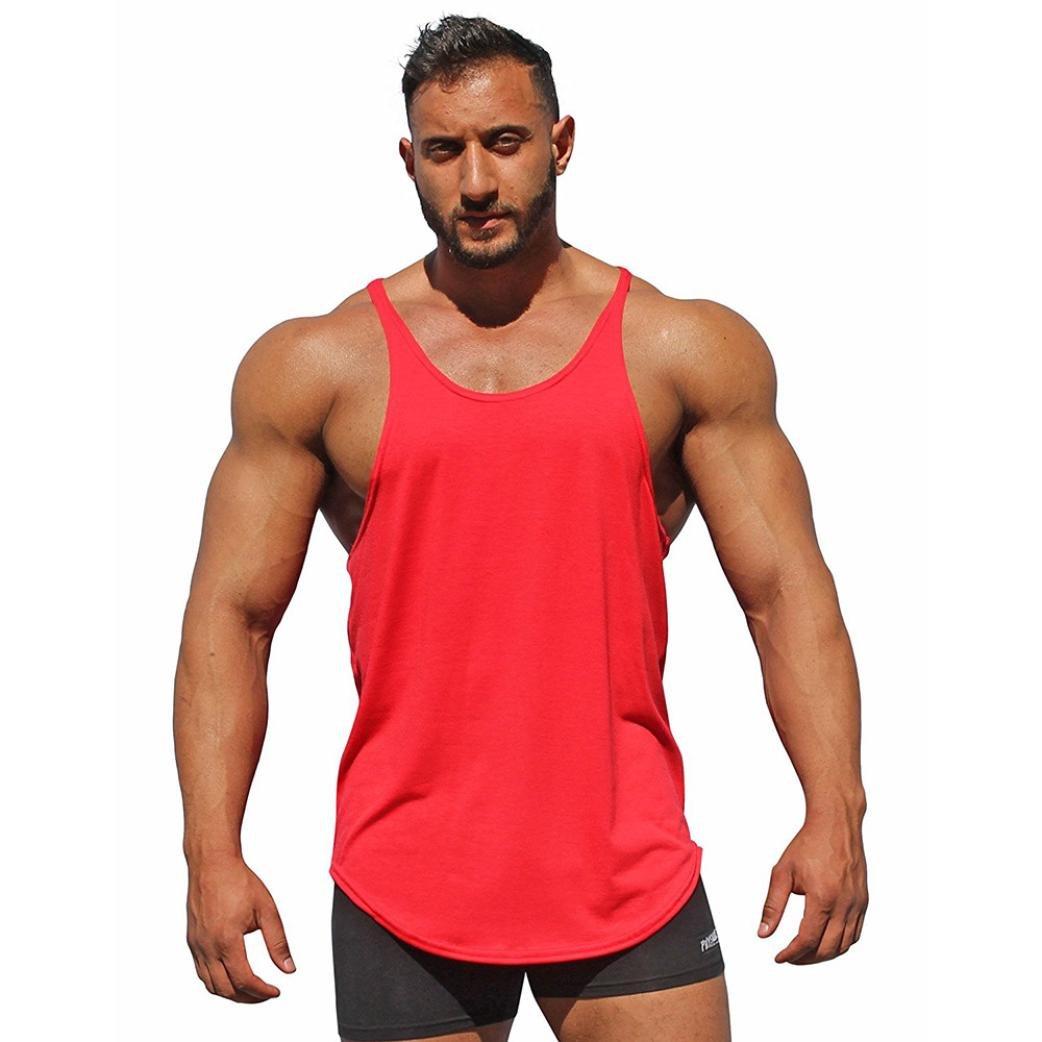 Huihong Unterhemden Tank Topt fü r Herren Baumwolle Sport Strand Schwimmen Fitness Tank Slim Fit Muskel Shirt Weste Bluse Huihong3451