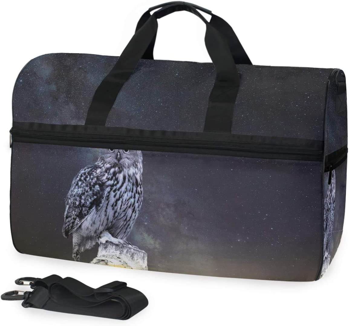 MUOOUM Galaxy Animal Owl Large Duffle Bags Sports Gym Bag with Shoes Compartment for Men and Women