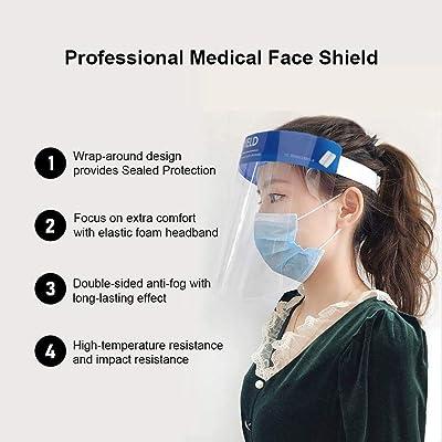 Reusable Safety Face Shield 10Pcs Transparent Protective,Anti-Fog,Anti-Saliva