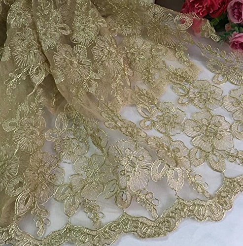Width 130cm Sequin Lace Mesh Embroidered Applique Trim Diy Sewing Fabric Cotton Embroidery Material European Style Gold Color For Wedding Dress Bridal Dresses 1 Yard