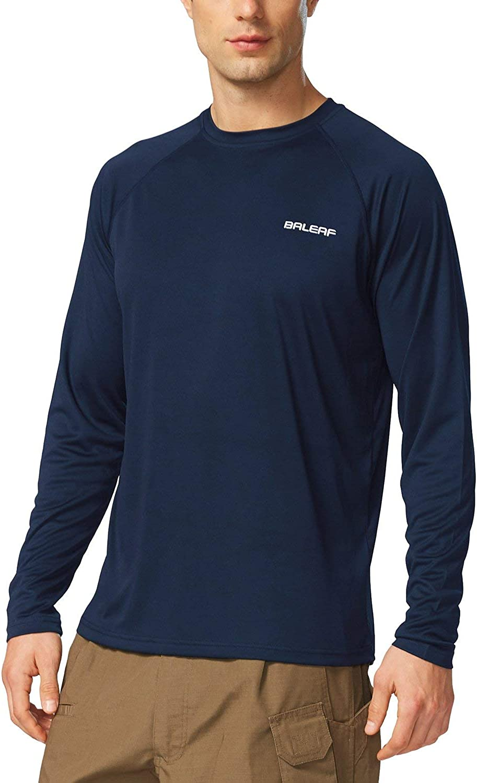 BALEAF Men's UPF 50+ Sun Protection Shirts Long Sleeve Dri Fit SPF T-Shirts Lightweight Fishing Hiking Running: Clothing