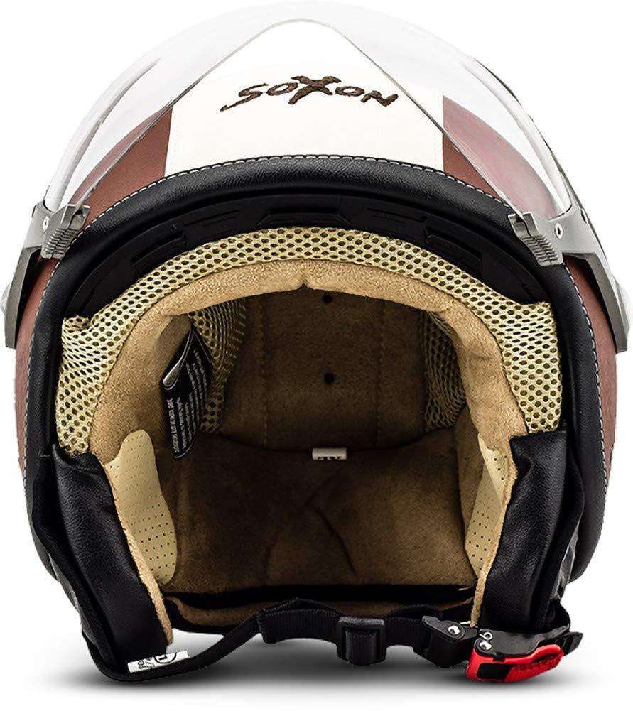 SOXON SP-325 Imola Black /· Vintage Pilot Moto-Helmet Jet-Helmet Scooter-Helmet Retro Chopper Biker Mofa Bobber Vespa-Helmet Cruiser /· ECE certified /· incl Cloth Bag /· Black /·  S 55-56cm Visor /· incl