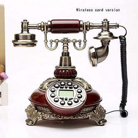 AUED Teléfono Antiguo con Pantalla Azul, botón Teléfono Retro Teléfono Fijo Tarjeta inalámbrica Teléfono Antiguo Fijo, para Oficina en casa,C: Amazon.es: Hogar