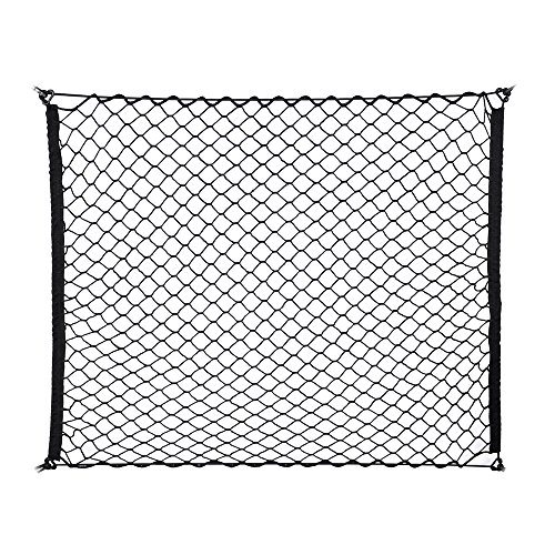 FCN Adjustable Elastic Heavy Duty SUV Trunk Net - Universal Stretchable Cargo Net with Hooks | Organizer, Storage, Mesh, Nylon, Bungee | for Car, SUV, Van -Black