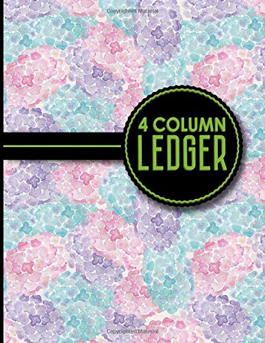 "4 Column Ledger: Account Book Journal, Accounting Notebook, Ledger Books For Bookkeeping, Hydrangea Flower Cover, 8.5"" x 11"", 100 pages (Volume 74)"