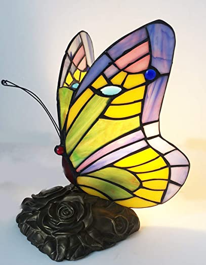 Tiffany lamp Butterfly Blue Glass HMJ8060 Stained Glass Style Butterfly Table lamp Robert Louis Tiffany