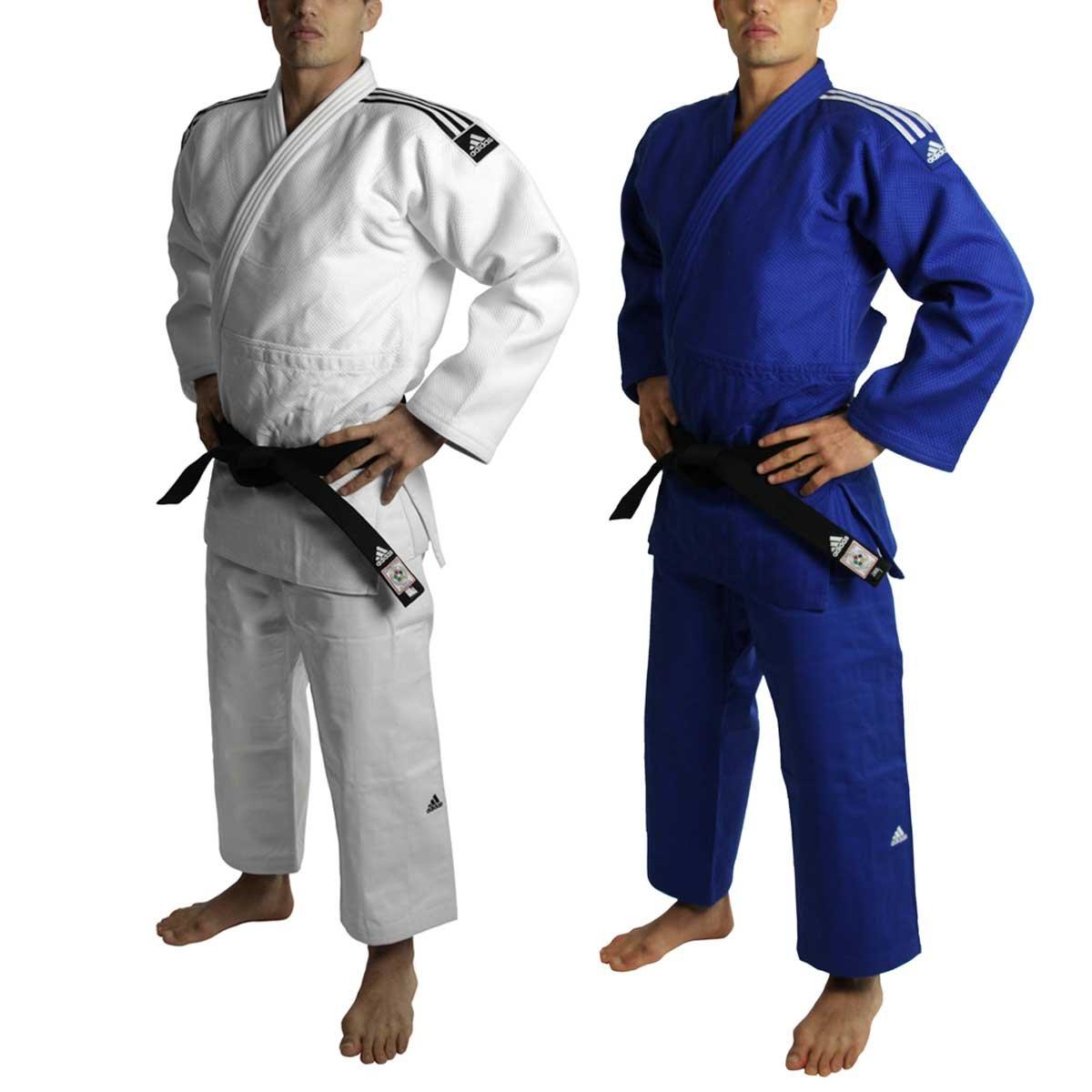 Adidas - Judogi Adidas J730 Champion II Slimfit IJF color blanco con rayas negras