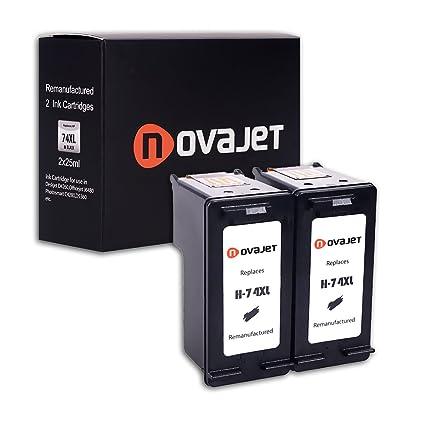 Novajet 2 Black Remanufactured High Yield Ink Cartridge Replacement for  74XL 75XL CH623BN CB336WN for Deskjet D4260 D4360 Officejet J5780 J6480