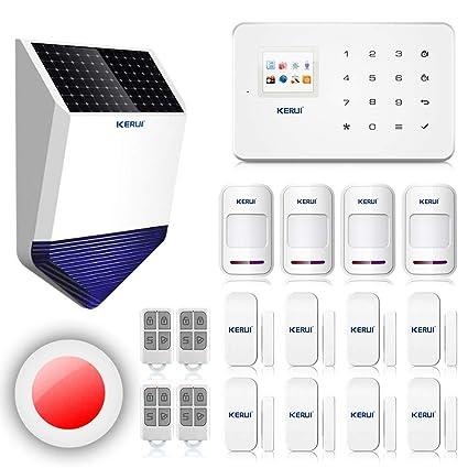 KERUI G18 seguridad sistema Alarma de hogar inalámbrico transmisión GSM con sirena interior y exterior,