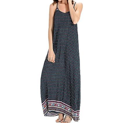 bea6598938bc Amazon.com: Euone Dress, Women Bohemian Holiday Dress Printing Loose Sling  Long Dress Beach Casual O-Neck Maxi Sundress Plus Size: Home & Kitchen