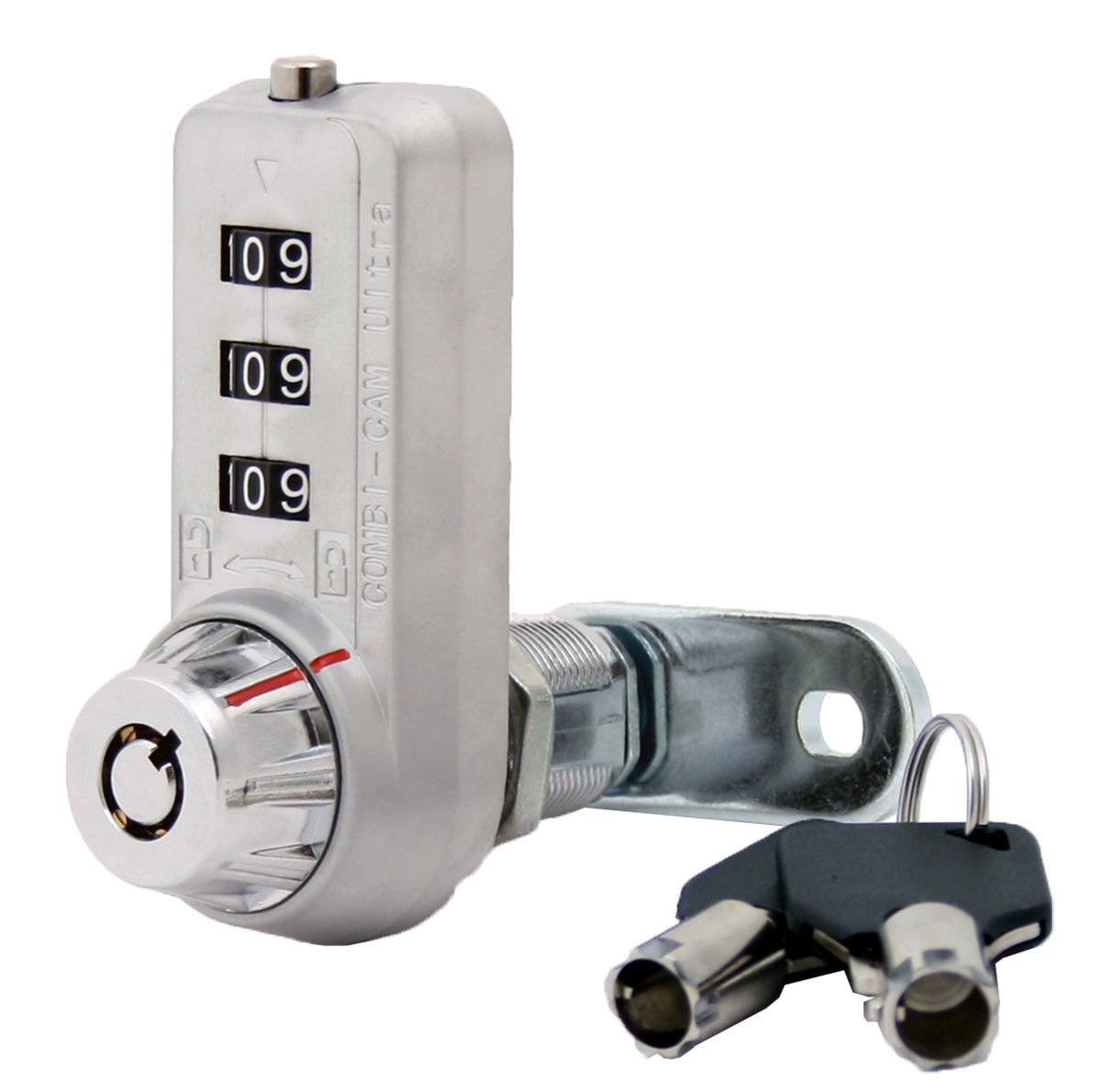 Combi-Cam Ultra, 7440L & Keys, Combination Cam Lock with Master Key Override, 1-1/8'' Cylinder Length, Chrome Finish