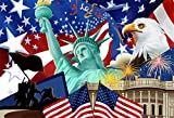 AOFOTO 7x5ft Independence Day of America Backdrop Patriotic National Holiday Celebration Photography Background USA Flag Statue of Liberty Bald Eagle The White House Freedom Peace Photo Studio Props