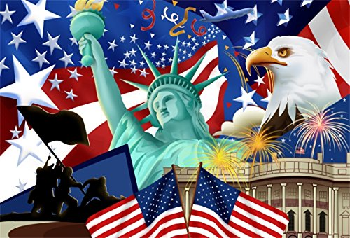 AOFOTO 7x5ft Independence Day of America Backdrop Patriotic National Holiday Celebration Photography Background USA Flag Statue of Liberty Bald Eagle The White House Freedom Peace Photo Studio Props by AOFOTO