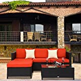 Cheap Peachtree Press Inc 5 PCs Outdoor Patio PE Rattan Wicker Sofa Sectional Furniture Set With 2 Pillows and Coffee Table