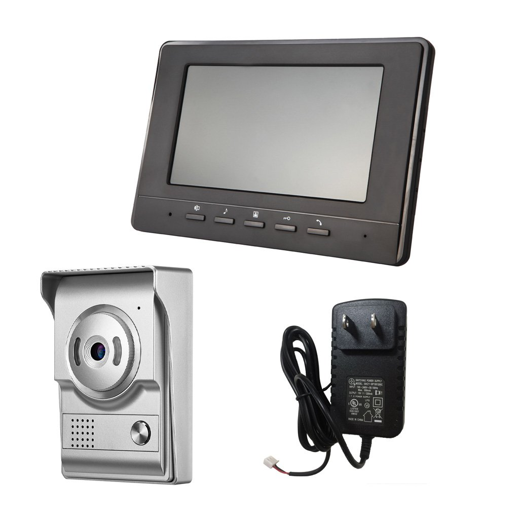 Blesiya 7inch LCD Camera Video Doorbell Intercom Monitor Safety US Standard - Silver