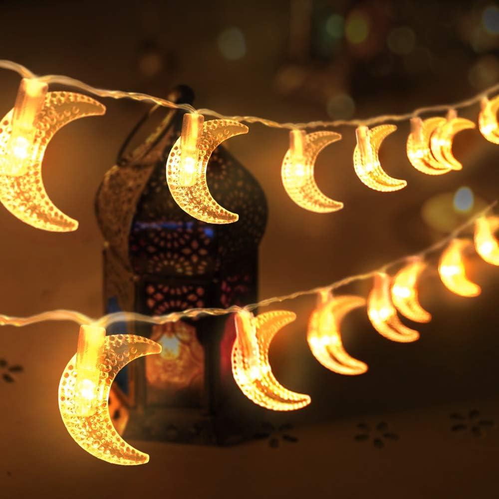 EID Ramadan Moon Party Decor Islamic 10 LED Lantern String Light Colorful Lamp
