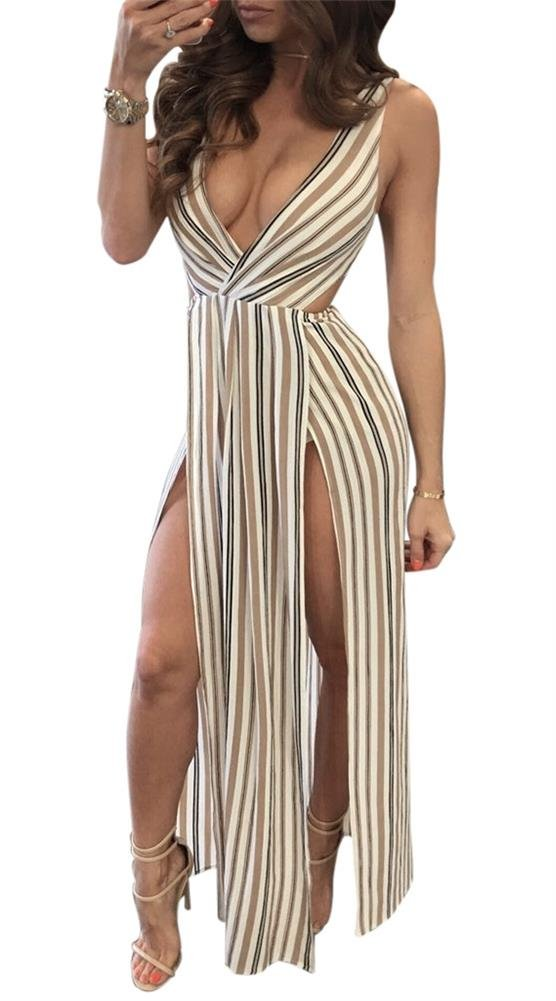 LKOUS Women's Summer Sexy V-Neck Sleeveless Backless Striped Beach Club Party Maxi Dress Coffee XL