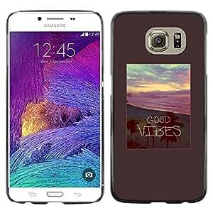 TopCaseStore / la caja del caucho duro de la cubierta de protección de la piel - Good Vibes Palms Beach Sunset Summer - Samsung Galaxy S6 SM-G920