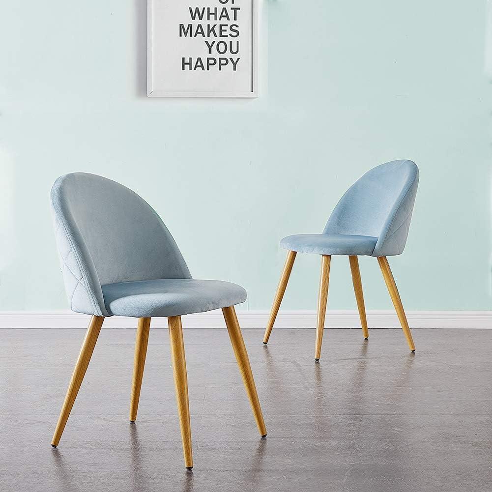 Juego de 2 sillas de comedor tapizadas de terciopelo con respaldo y patas de transferencia de metal para comedor, la sala de estar y el dormitorio, terciopelo, azul claro, 46 * 46 *77 cm
