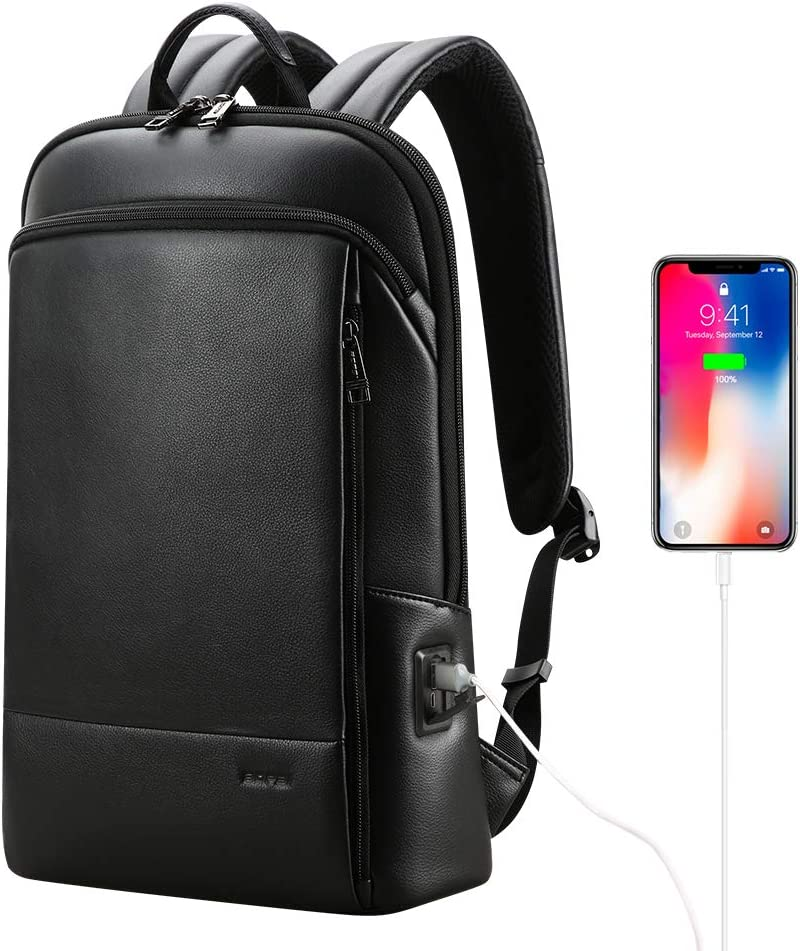 BOPAI Unisex Leather Backpack for 15.6 inch Business Laptop Backpack with USB Charging Lightweight Casual Daypack Backpack Smart Backpack Black