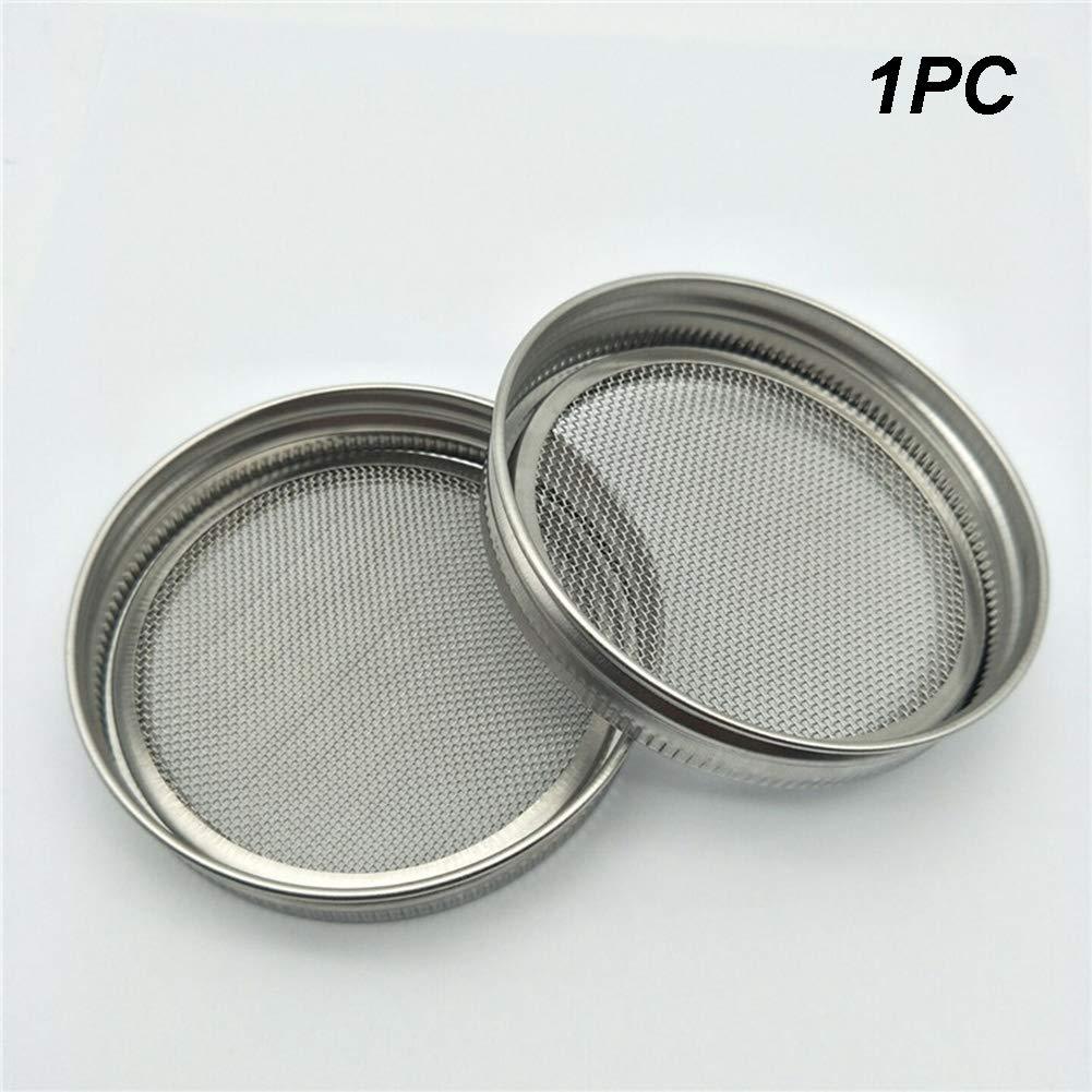 Kit de tapa de tarro de germinador de semillas de malla curva de acero inoxidable para hacer semillas de brote org/ánicas en interiores para tarro de enlatado de boca ancha 1set As Picture Show