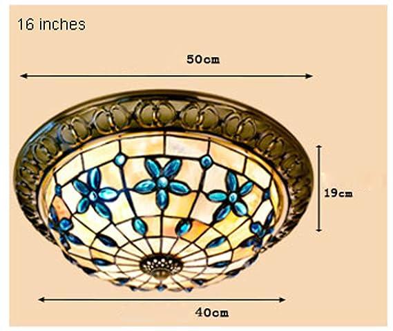 Pui Yi Mei Iluminación 16-Inch Conchas Lila Dormitorio Salón lámpara de techo pasillo Luces mediterránea Lámpara Tiffany