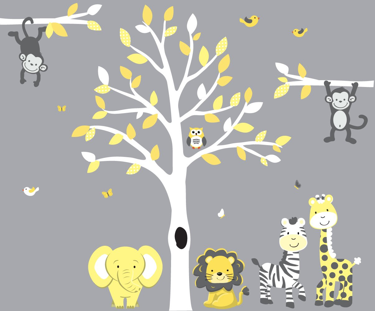 amazon com safari nursery wall decal in yellow and gray with amazon com safari nursery wall decal in yellow and gray with expedition animal stickers baby
